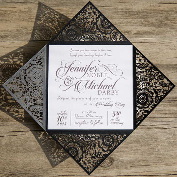 simple black and white laser cut wedding invitations