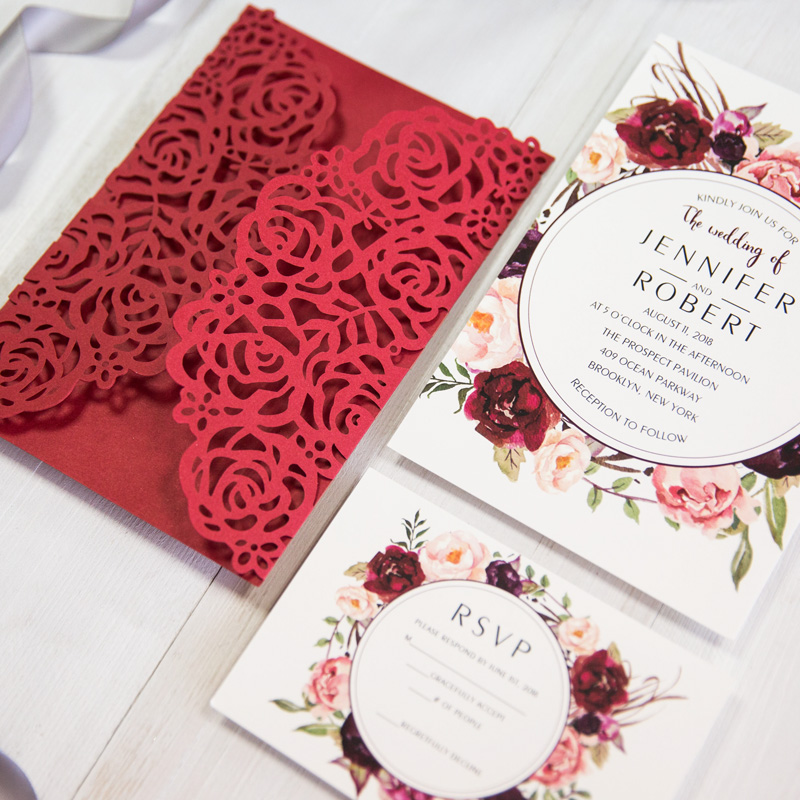 stunning red and peach laser cut vintage wedding invites