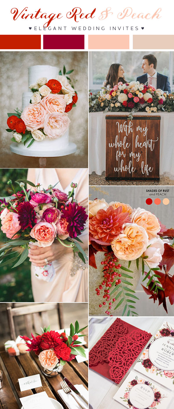 vintage red and blush wedding colors for 2018 trends