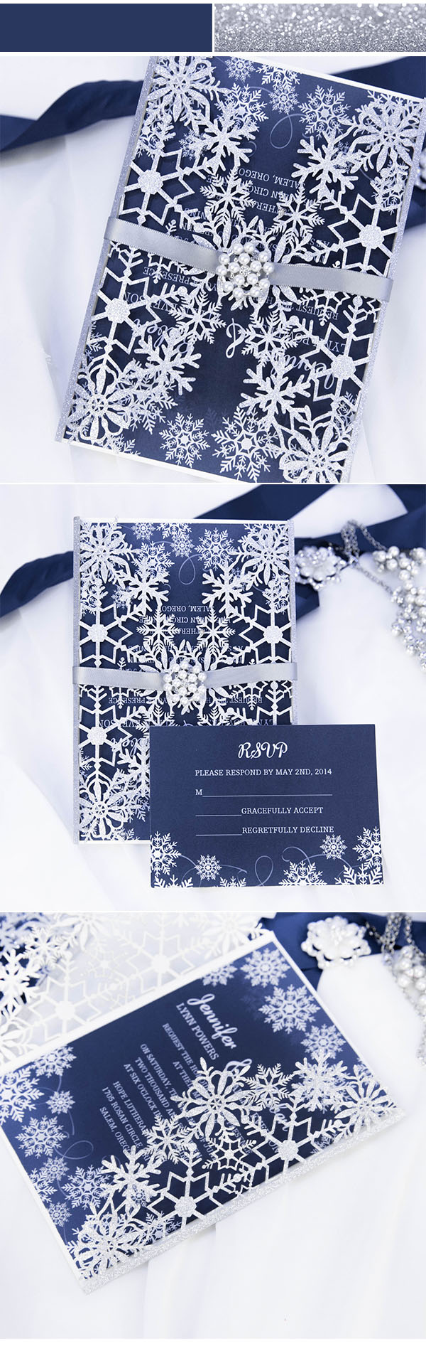 Blue and Silver Snowflake Laser Cut Winter Wedding Invitation