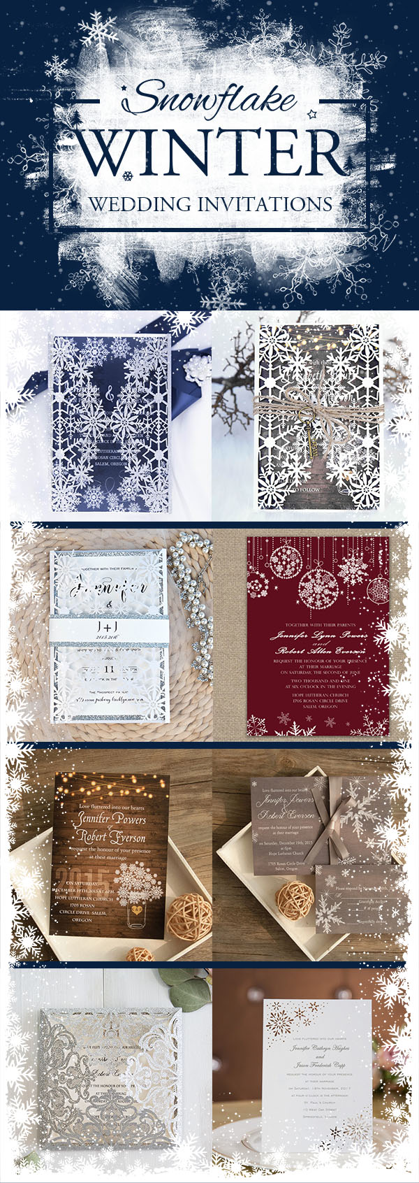 Romantic Snowflake Wedding Invitations Ideas for Winter Brides