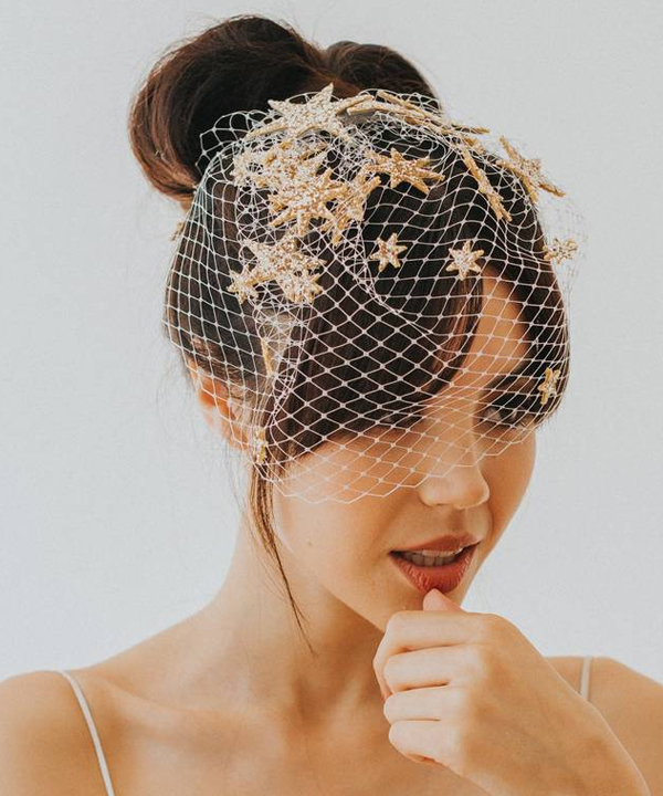Chic High Bun Bridal Hairstyle with Glitter Stars Birdcage Veil