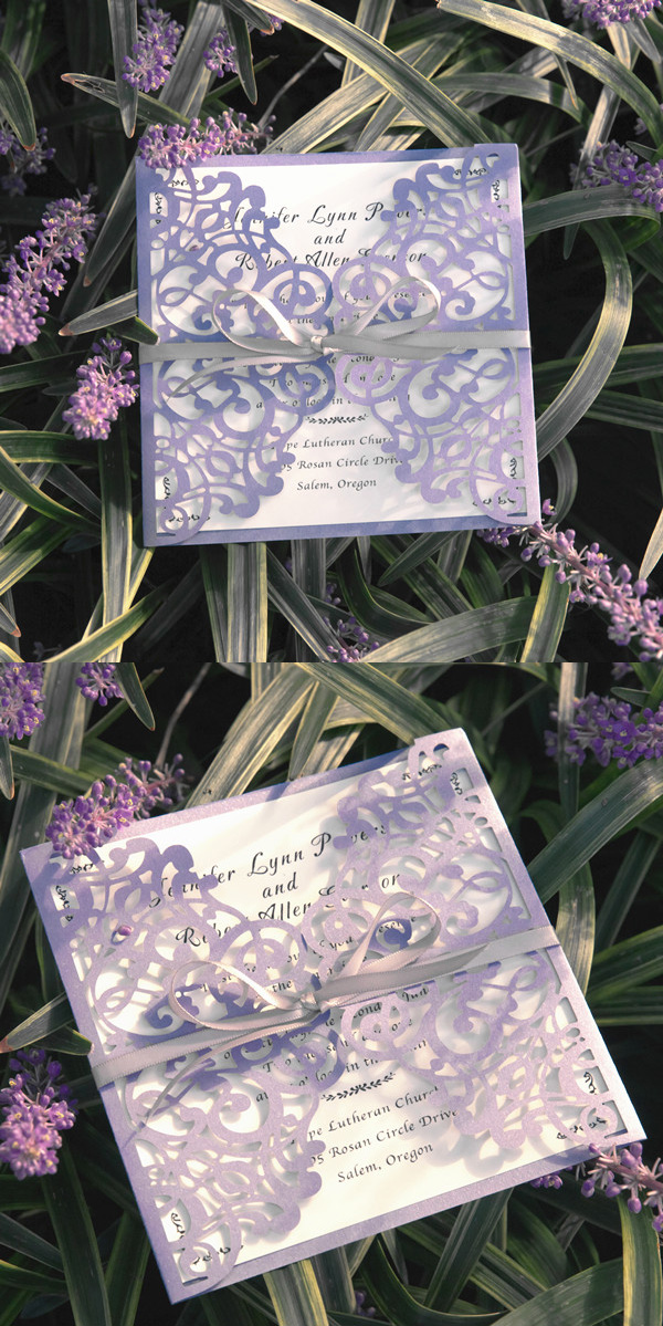 Chic Lavender Laser Cut Wedding Invitations with Grey Ribbon Bows