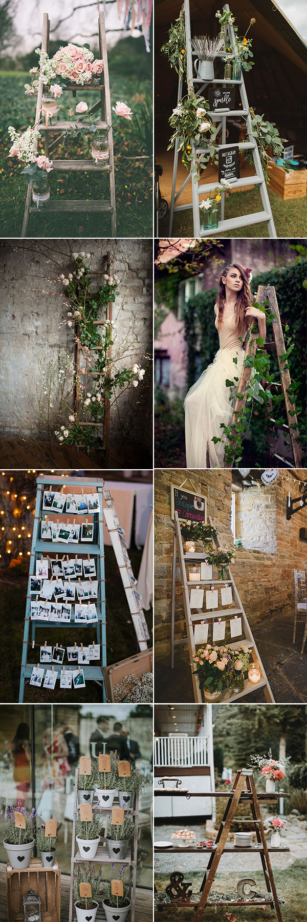 Creative Shabby Chic Ladder Wedding Decoration Ideas