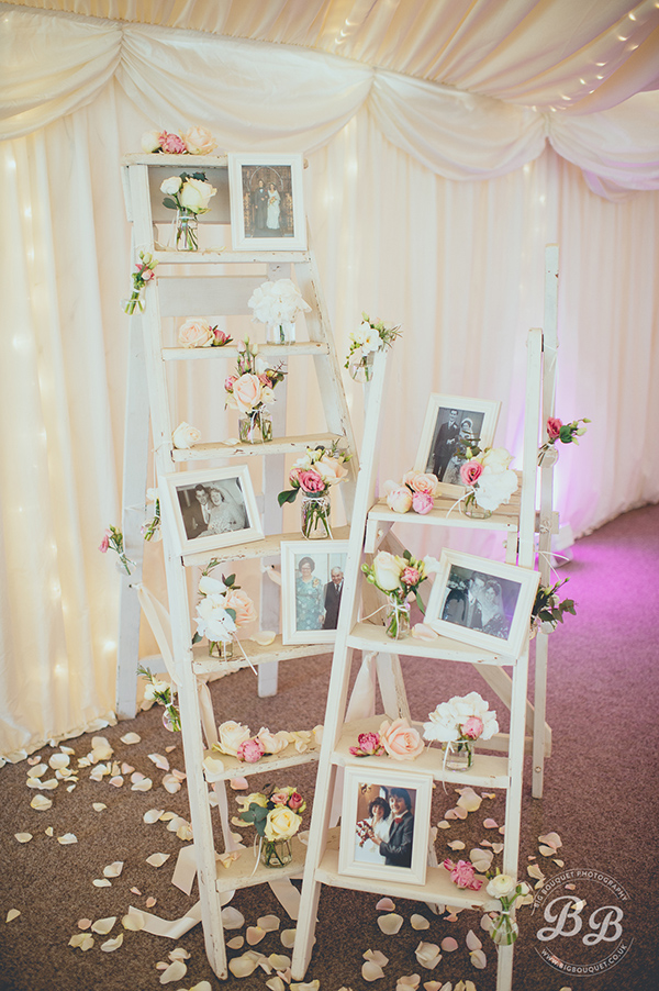 Creatively Photo Display Wedding Ideas with Step Ladders