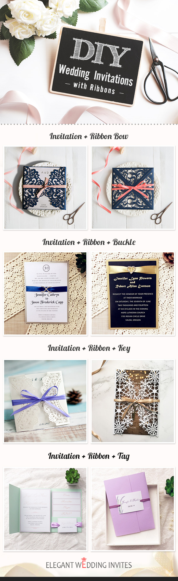 DIY Wedding Invitations with Ribbons
