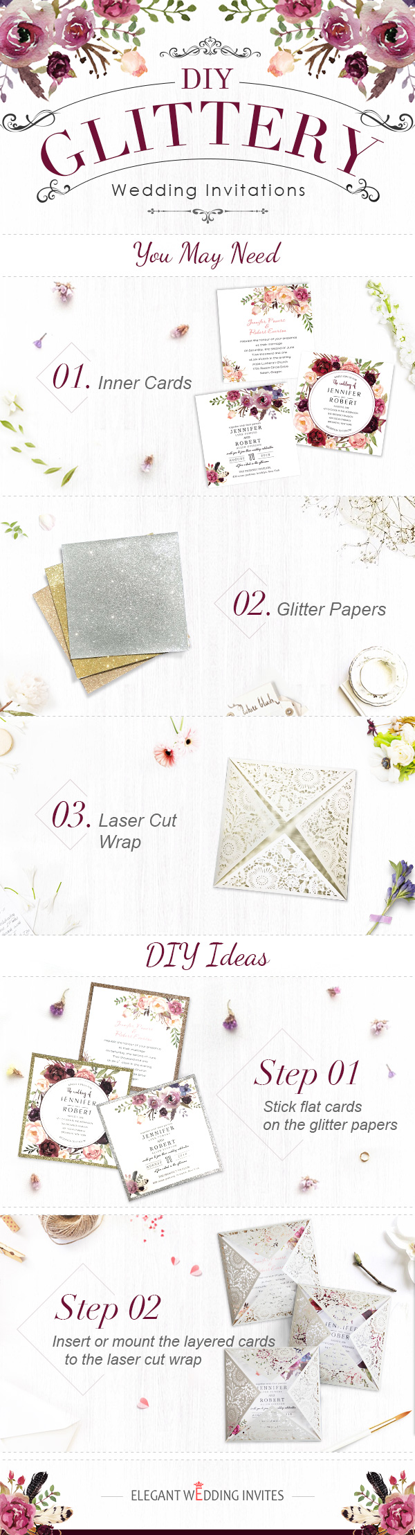 DIY glittery wedding invitations