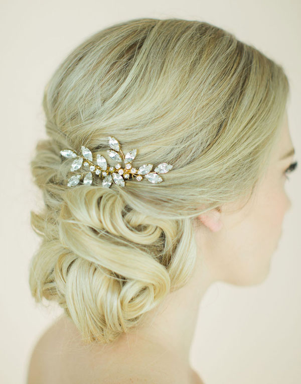Elegant Side-swept Updo Wedding Hairstyles with Golden Leaves Headpiece