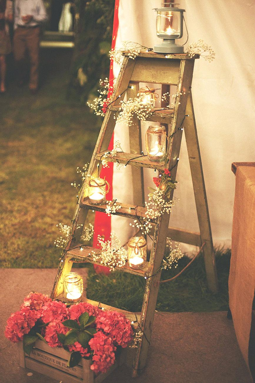 Ever the Most Popular Rustic Ladder and Mason Jar Wedding Decoration
