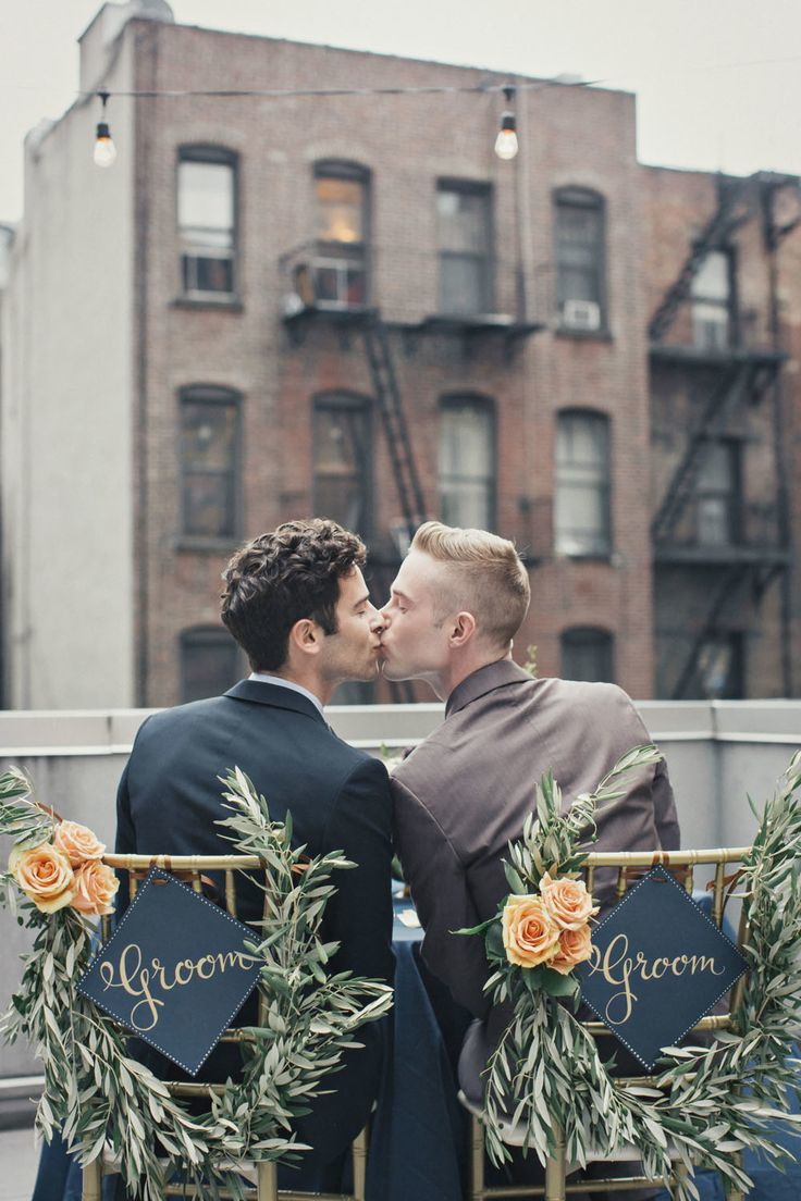 Gay Wedding Photo Inspiration and wedding chair sign idea