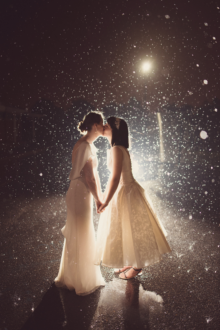 Gorgeous Wedding Rain Photos of Gay Lesbian Couples