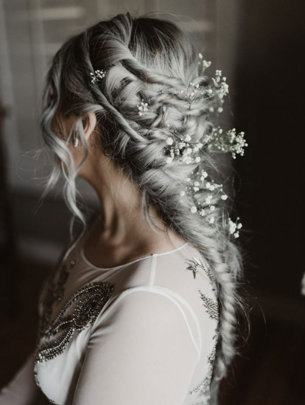 Loose Fishtail Braid with Babys Breath Silver Wedding Hair Ideas