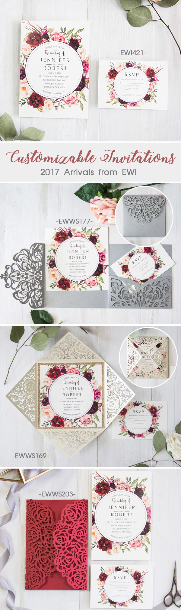 Outside Pocket Customizable Wedding Invitations from Elegant Wedding Invites