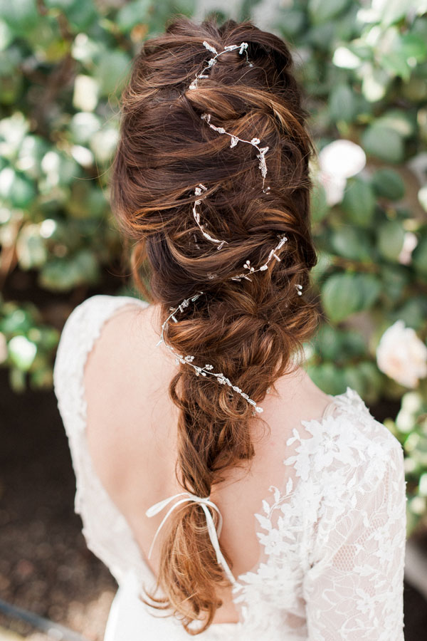 Romantic Fishtail Braids Bridal Hair with Delicate Crystal Decoration