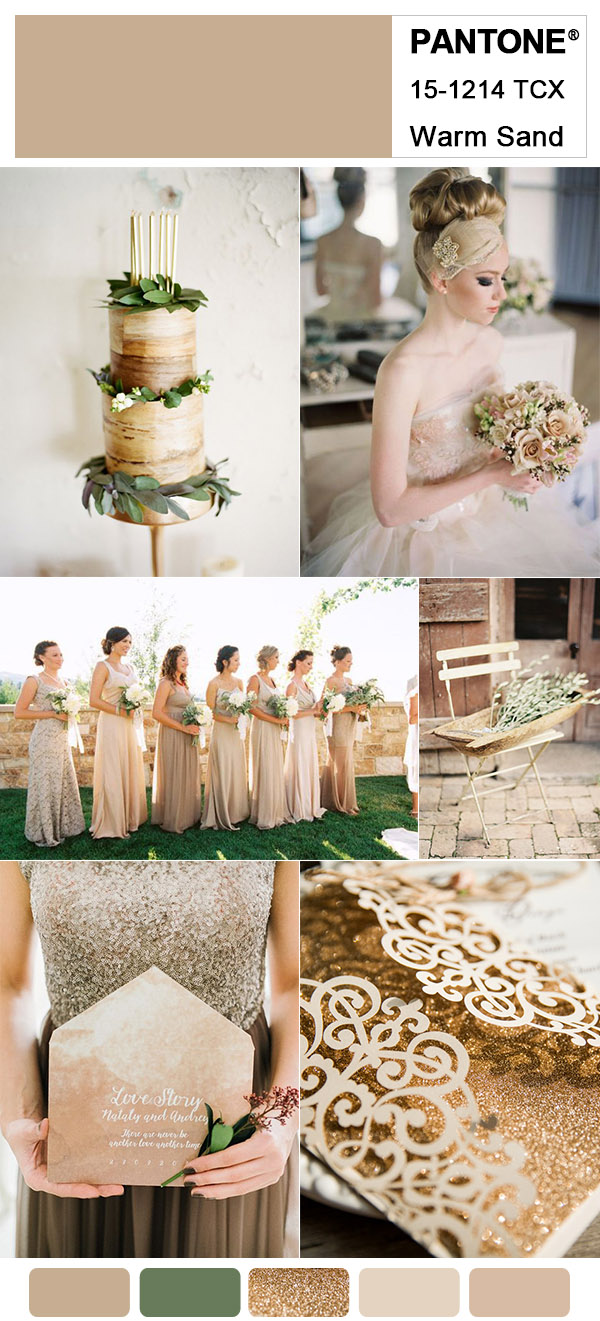 Romantic Pantone Warm Sand Neutral Wedding Color Trends for 2018