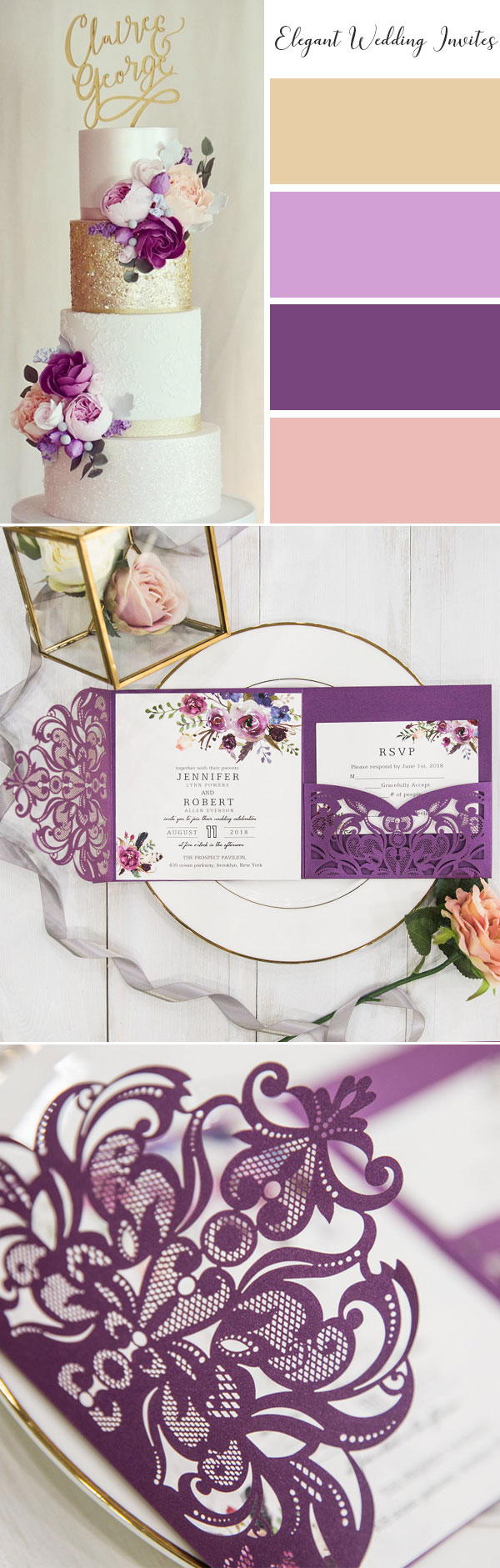 Royal Purple Floral Pocket Laser Cut Wedding Invitations EWWS182