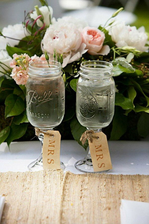 Rustic Country Lesbian Wedding Ideas with Mason Jars