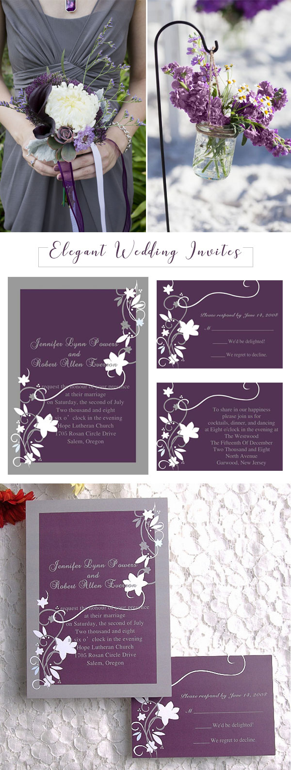 Rustic Floral Plum and Grey Wedding Invitations EWI001