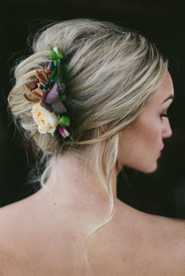 Simple and Elegant Loose French Twist with Wild Flower Decor