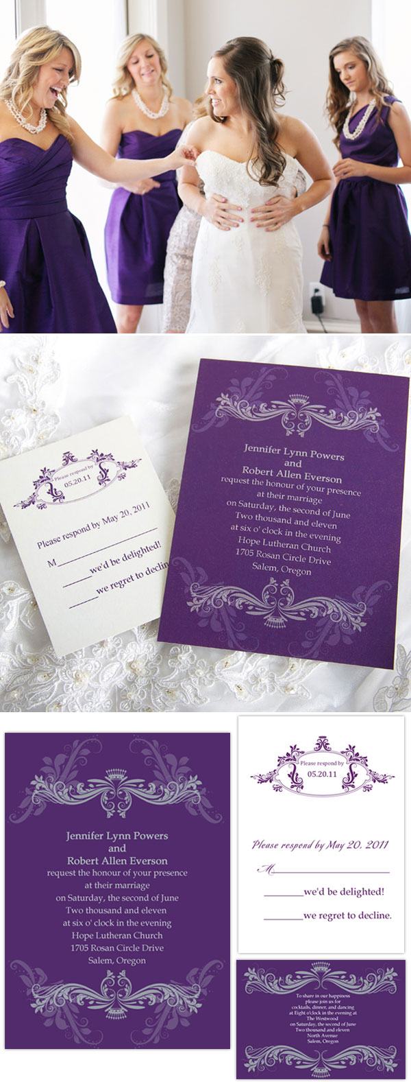 Vintage Royal Lilac Purple Damask Custom Wedding Invitation cards