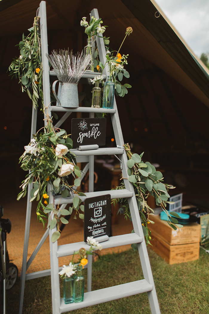 Vintage Step Ladder Wedding Decor Ideas with Lush Green