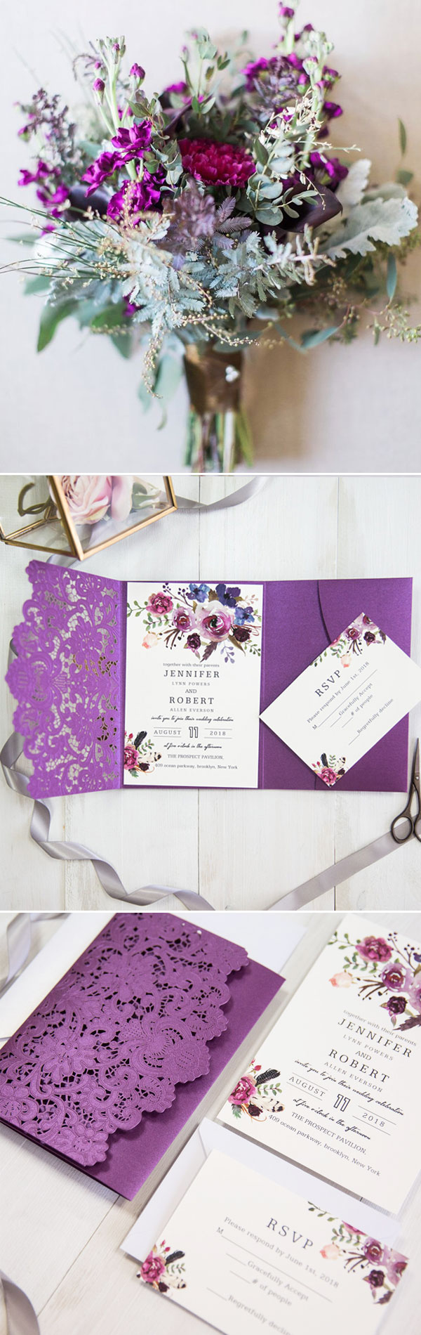 Vivid Shades of Purple Watercolor Floral Laser Cut Pocket Wedding Invitations EWWS202