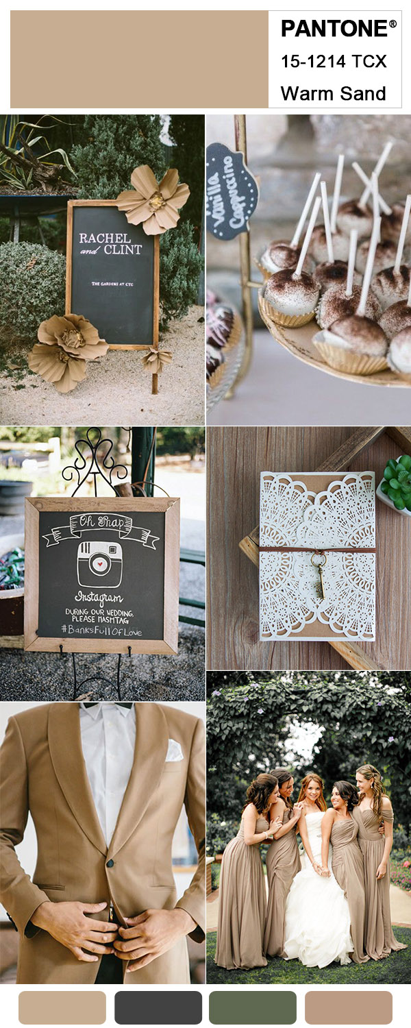 Warm Sand and Black Simple Backyard Wedding Colors