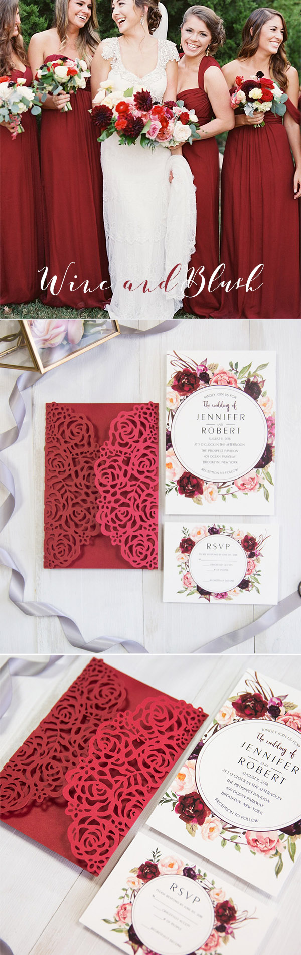 Wine Red and Blush Garden Wedding Color Inspiration