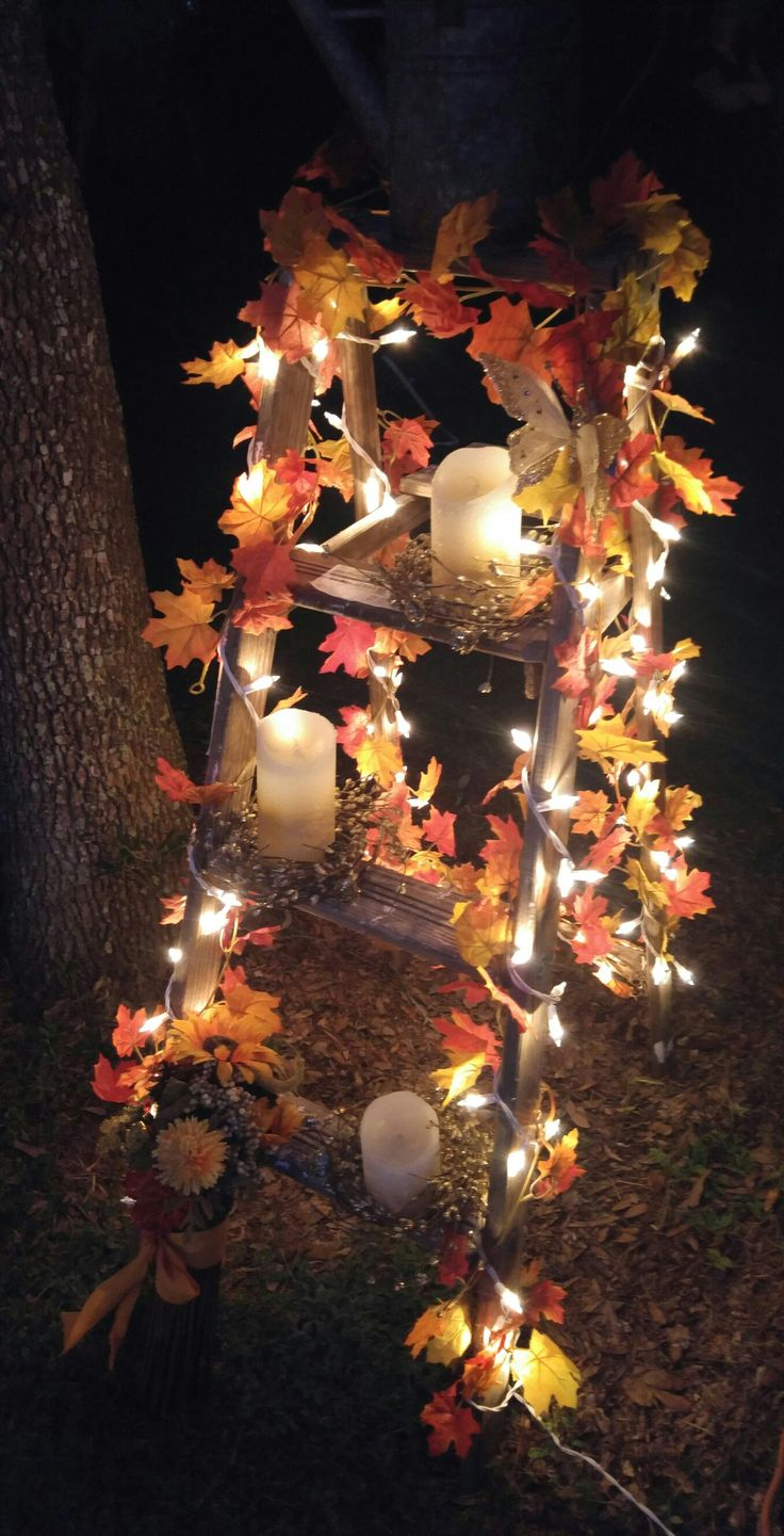 Wood Ladder Rustic Fall Wedding Decoration with Maple Leaves and String Light