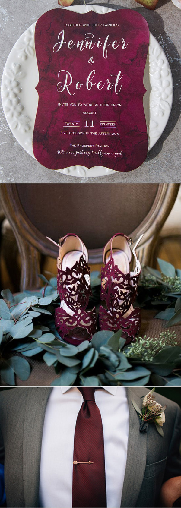 dark burgundy and grey wedding color inspiration ideas