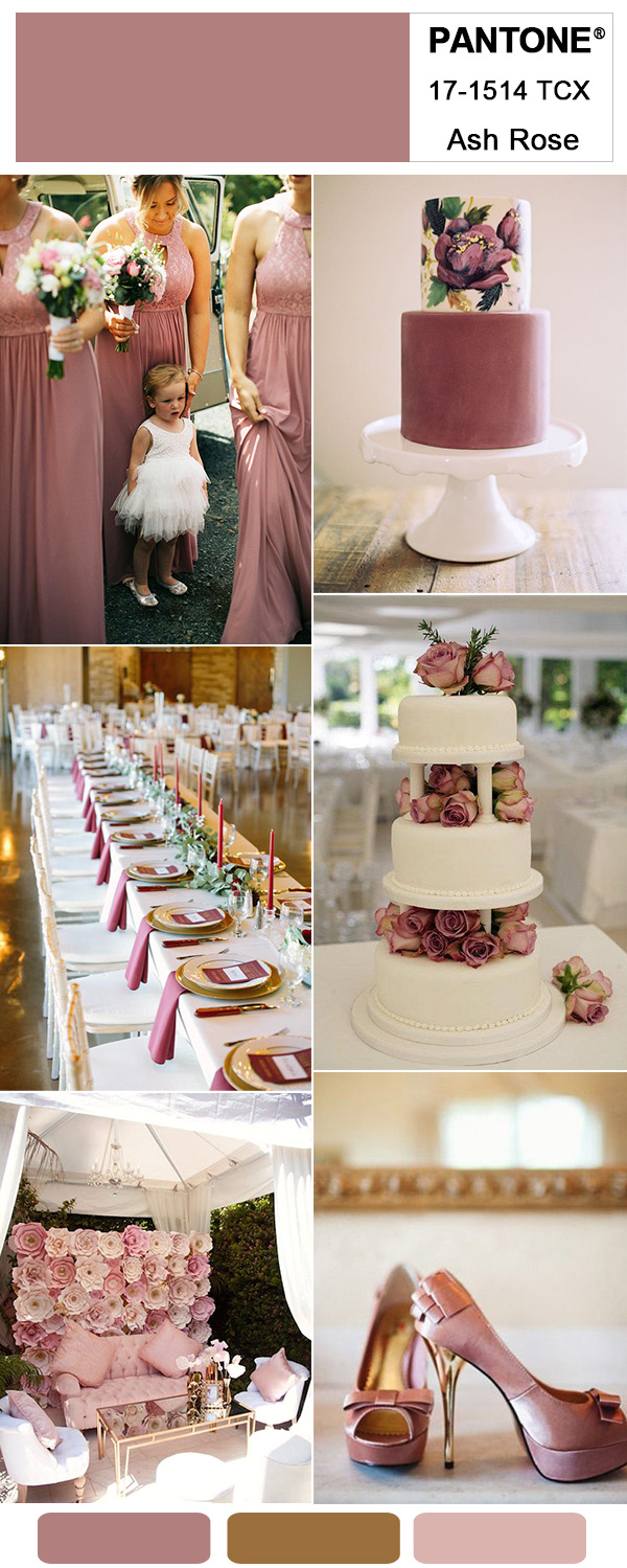 Ash Rose Pink and Gold Elegant Wedding Party Ideas