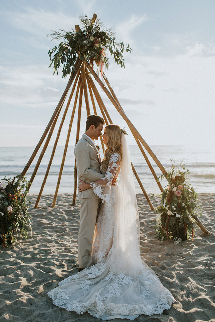 Boho Theme Wedding Ceremony at Seaside