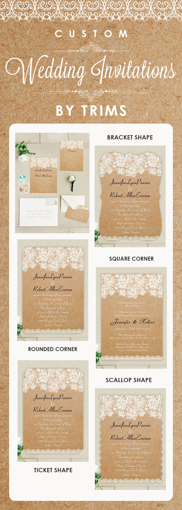 Custom wedding invitations by trims