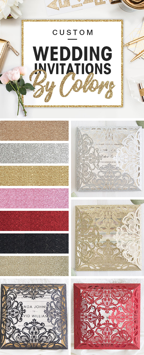 Custom glittery wedding invitations by colors