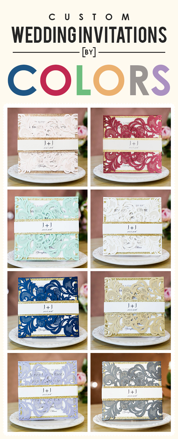Custom wedding invitations by colors