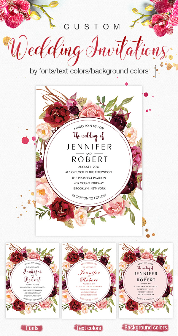 Custom wedding invitations by fonts/text colors/background colors