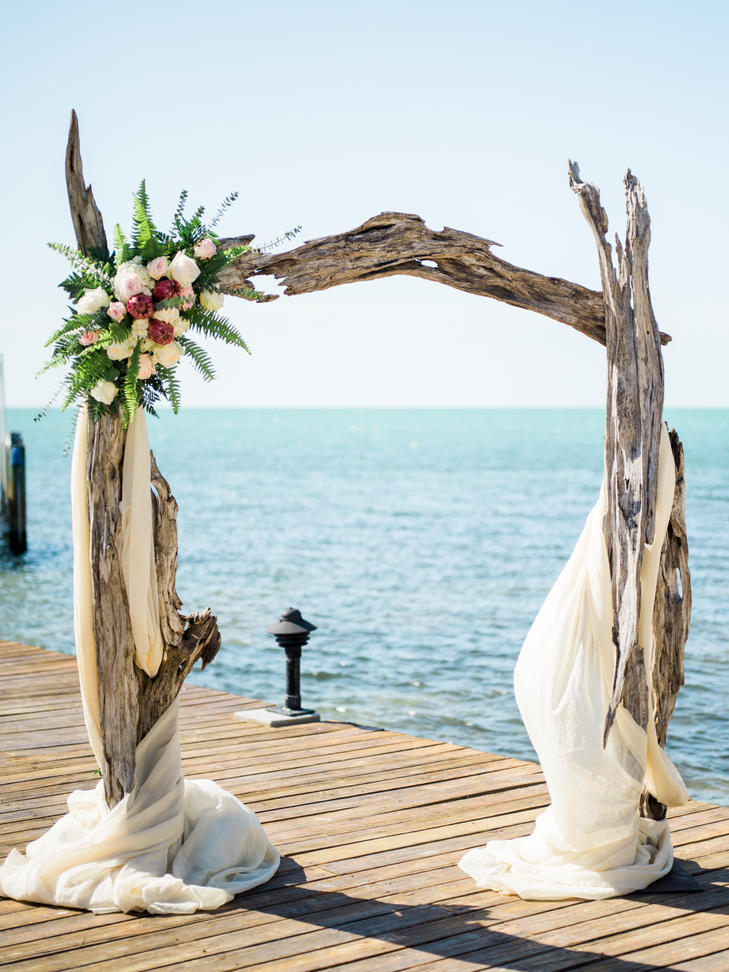 Driftwood Waterfront Wedding Ceremony Arch Ideas.