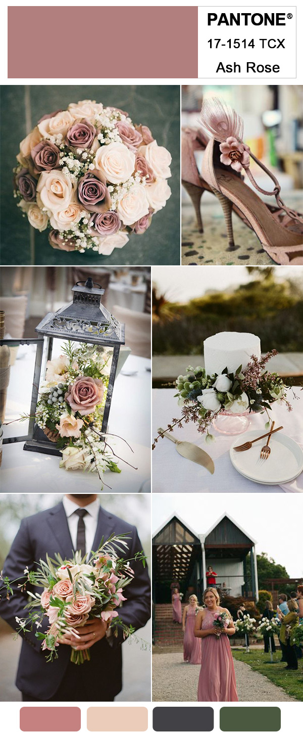 Dusty Rose Pink and Dark Grey Farm Wedding Ideas