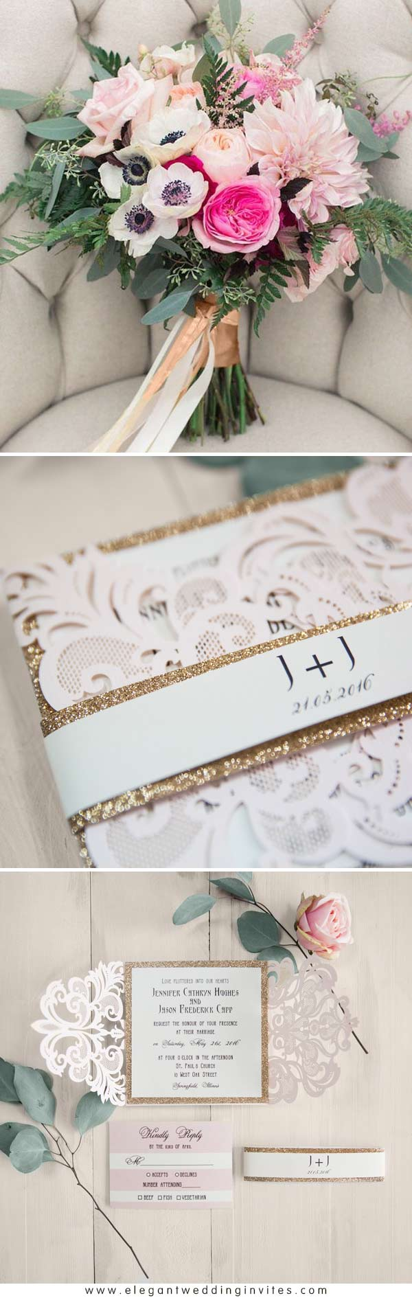Elegant Blush Pink Laser Cut Wedding Invitation with Rose Gold Glittery Belly Band EWWS146