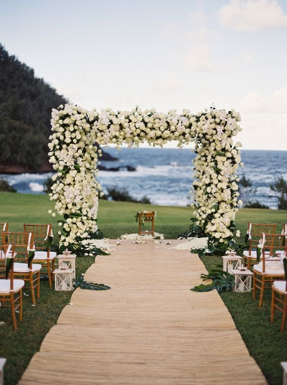Elegant Rustic Beach Wedding Ceremony Decoration Ideas