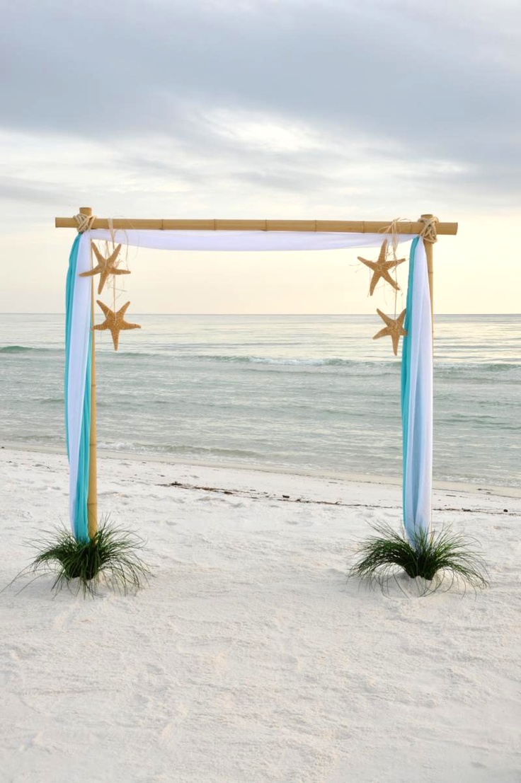 Light Blue Beach Destination Wedding Arch Ideas with star fish