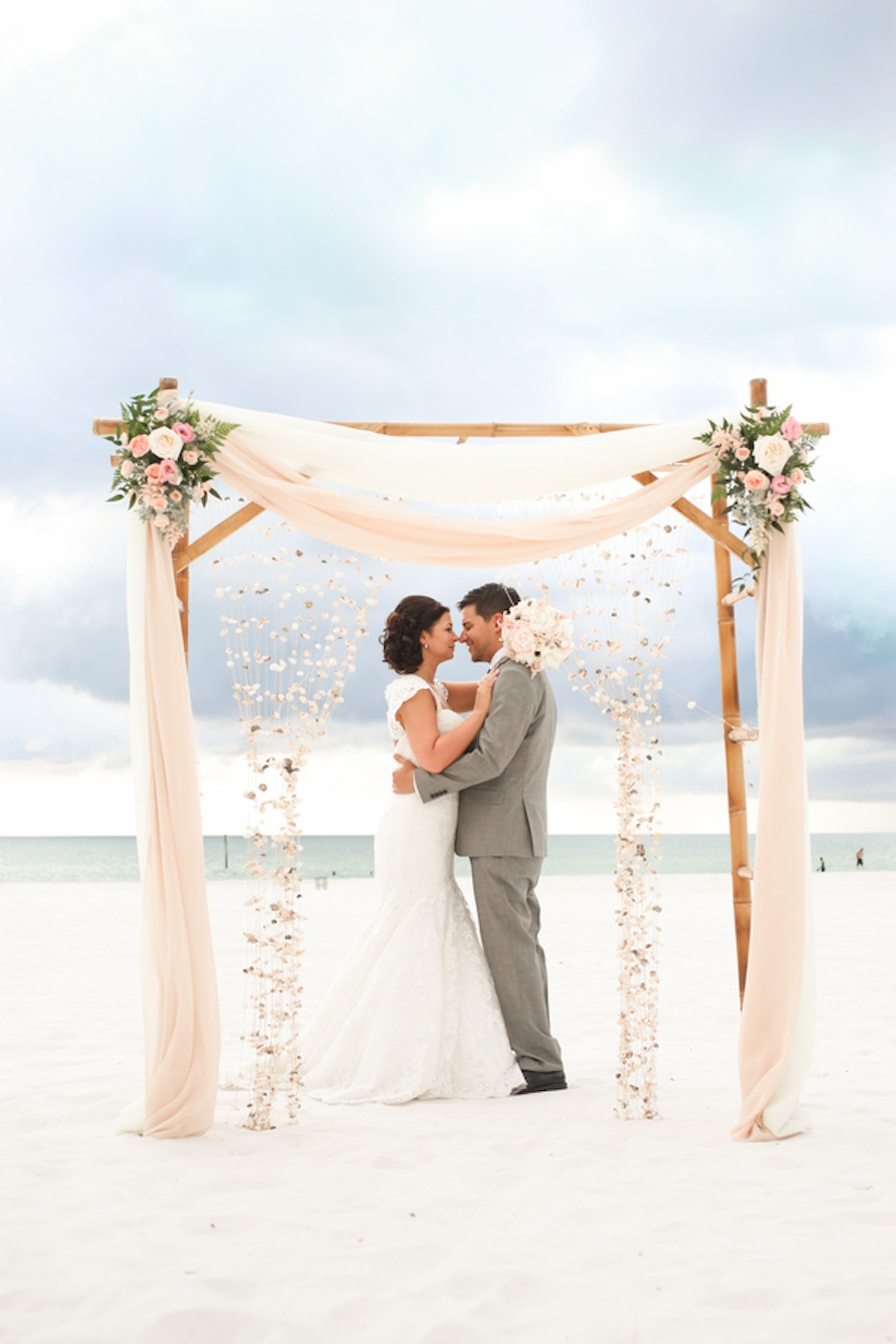 Romantic Blush Floral Beach Wedding Arbor Ideas