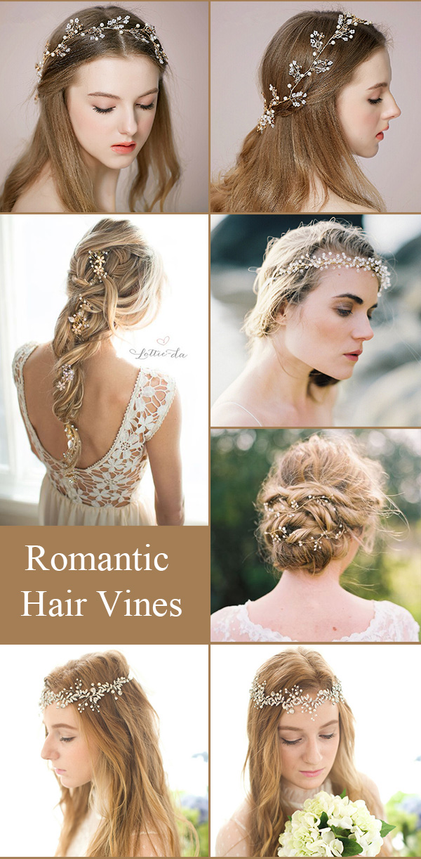 Romantic bridal hair vine ideas for your wedding party