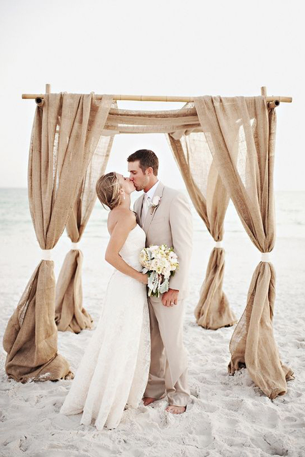 Rustic Burlap wedding Canopy Arch Idea