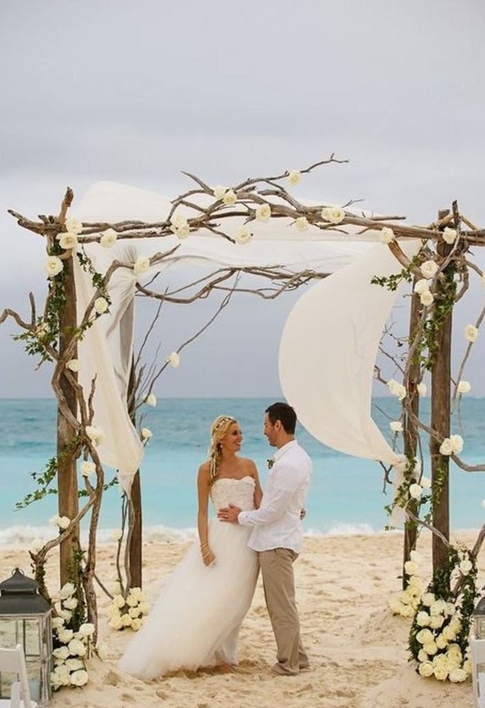 Rustic Driftwood Style Beach Wedding Arch Ideas with Flowy Fabric