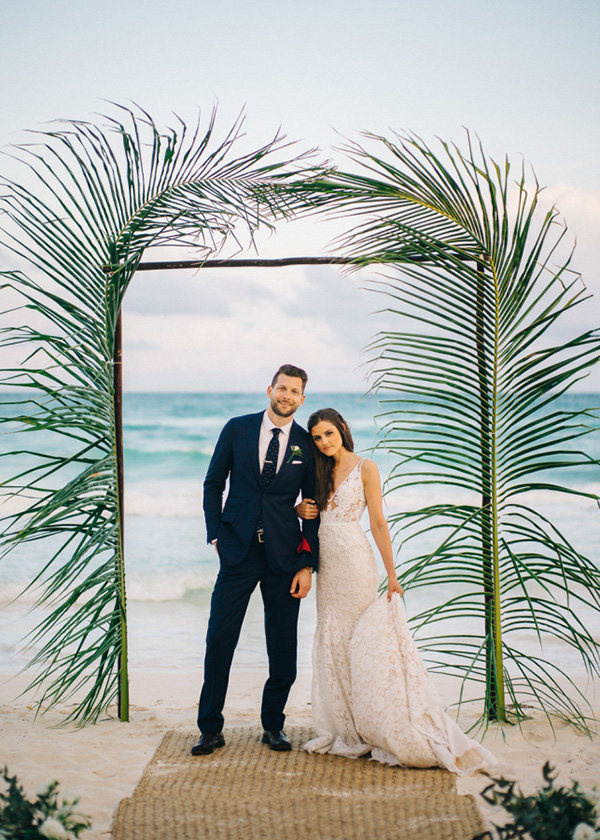 Simple Palm Leaves Beach Wedding Arch