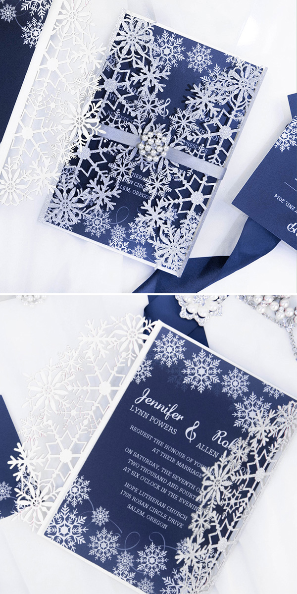 blue and glitter silver snowflake winter wedding invitation