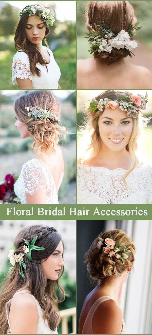 greenery and floral bridal headpieces
