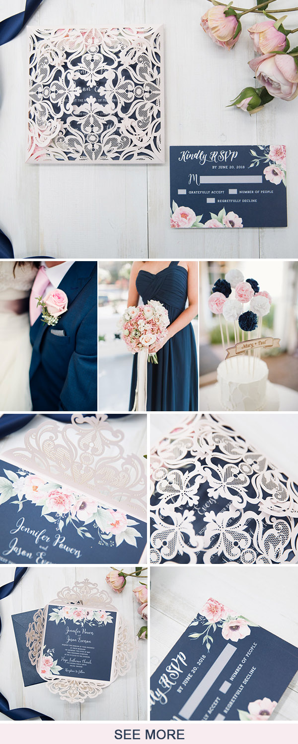 navy blue an blush garden wedding ideas