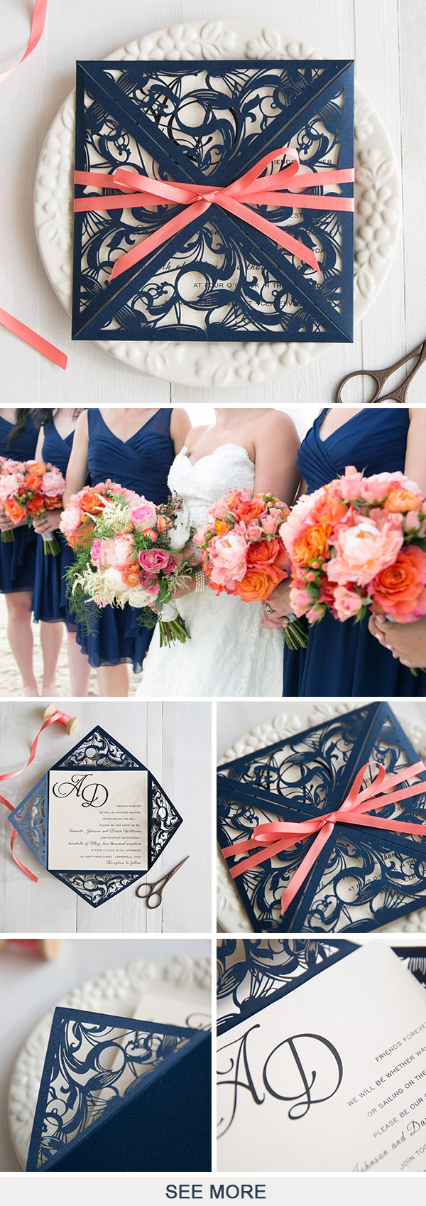 navy blue laser cut wedding invitation with coral ribbon